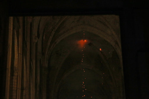 A view from inside Notre Dame cathedral during the fire in Paris. Credit: PA