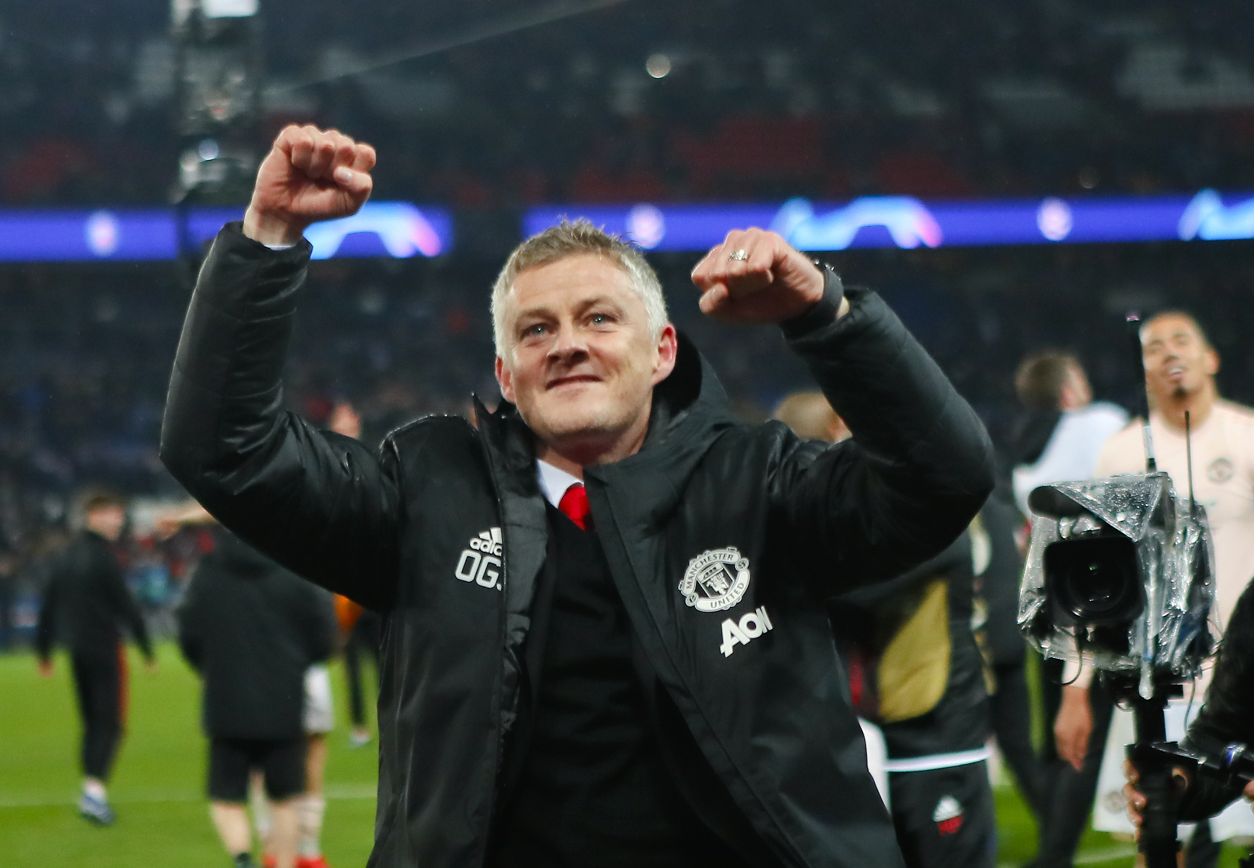 Solskjaer celebrates at full time. Image: PA Images