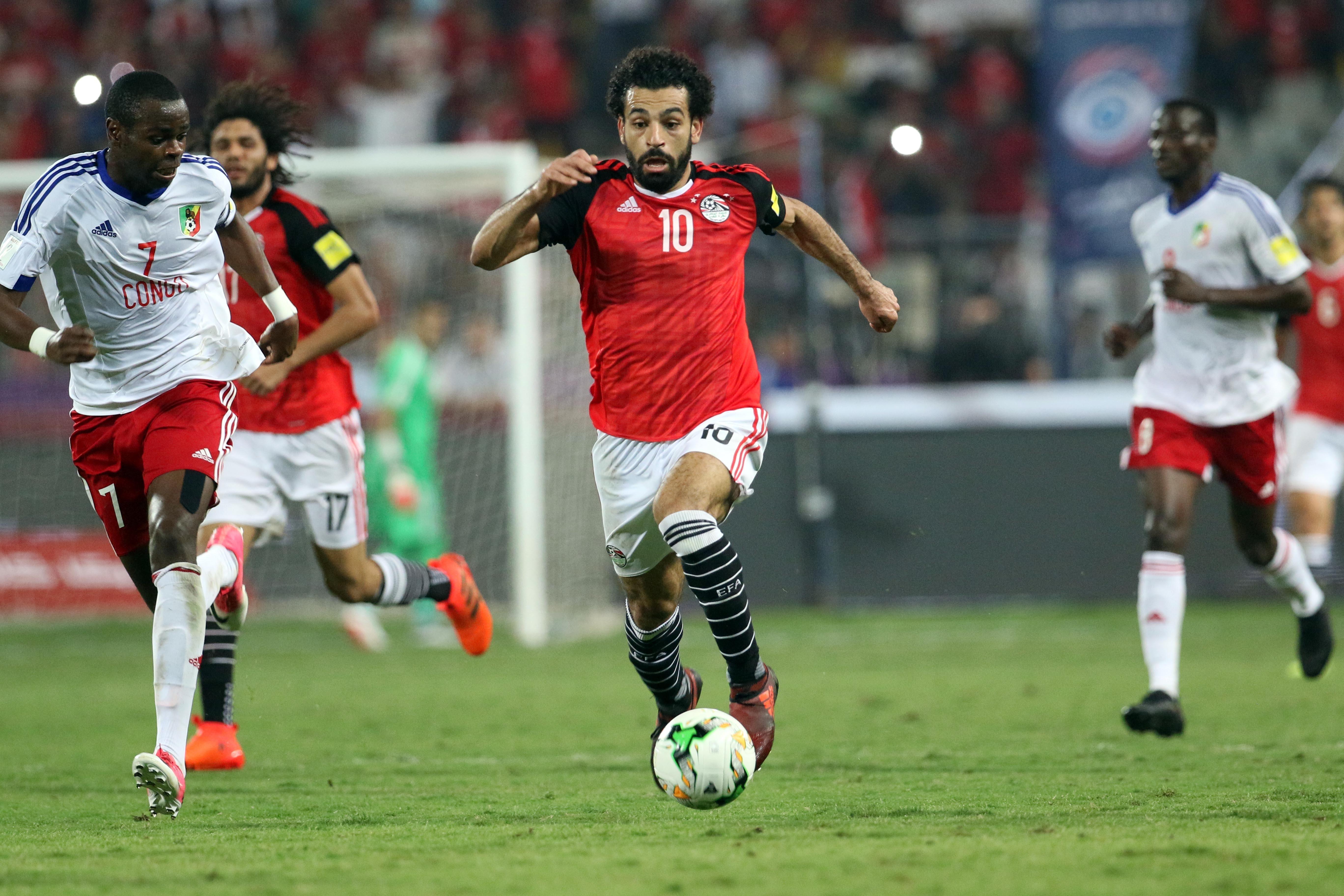 Salah on international duty. Image: PA