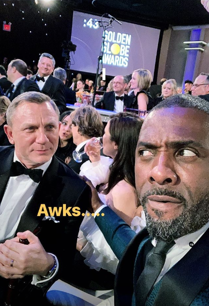 The two Brits stopped for a selfie during the Golden Globes ceremony. Credit: Instagram