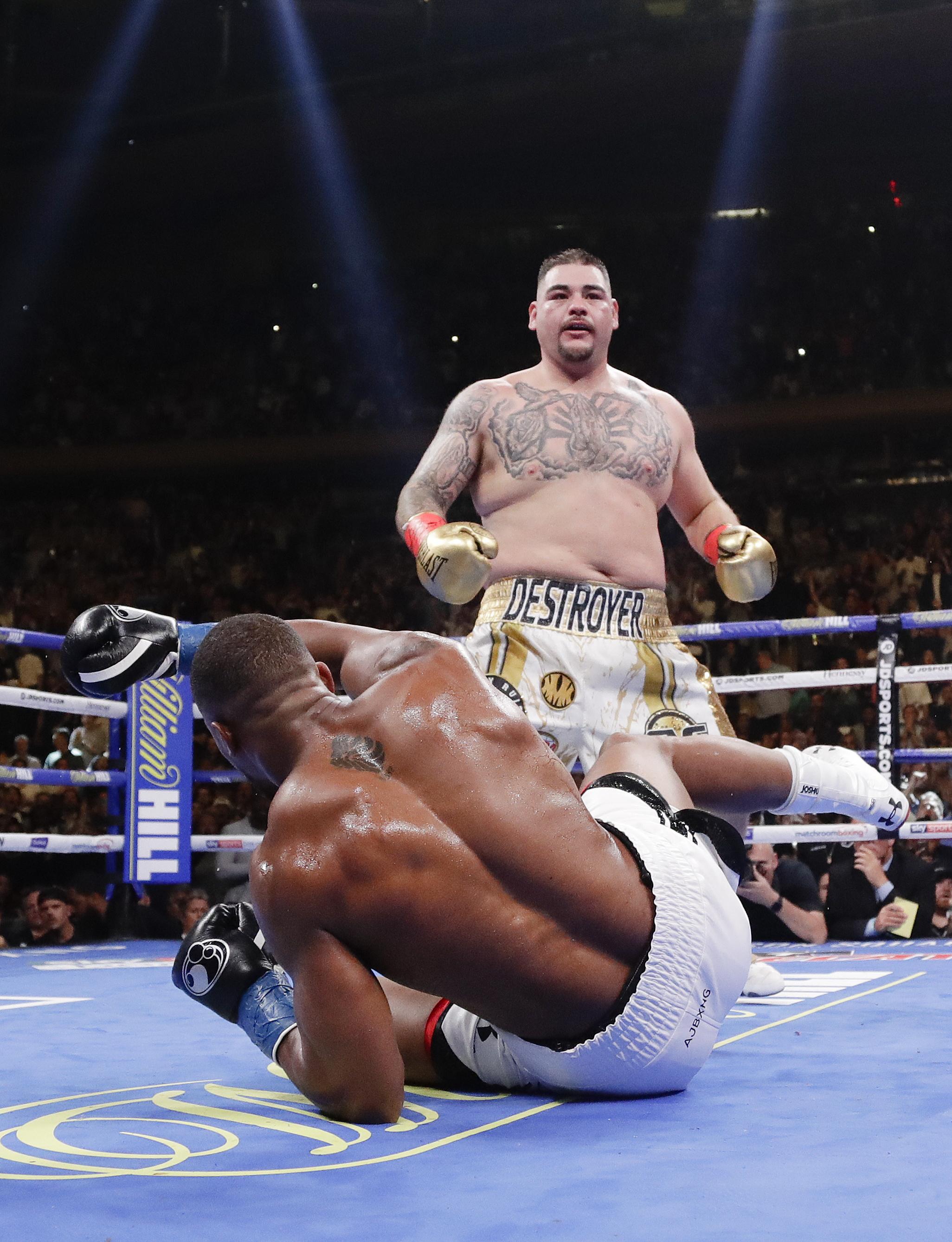 Ruiz knocks down AJ. Image: PA Images