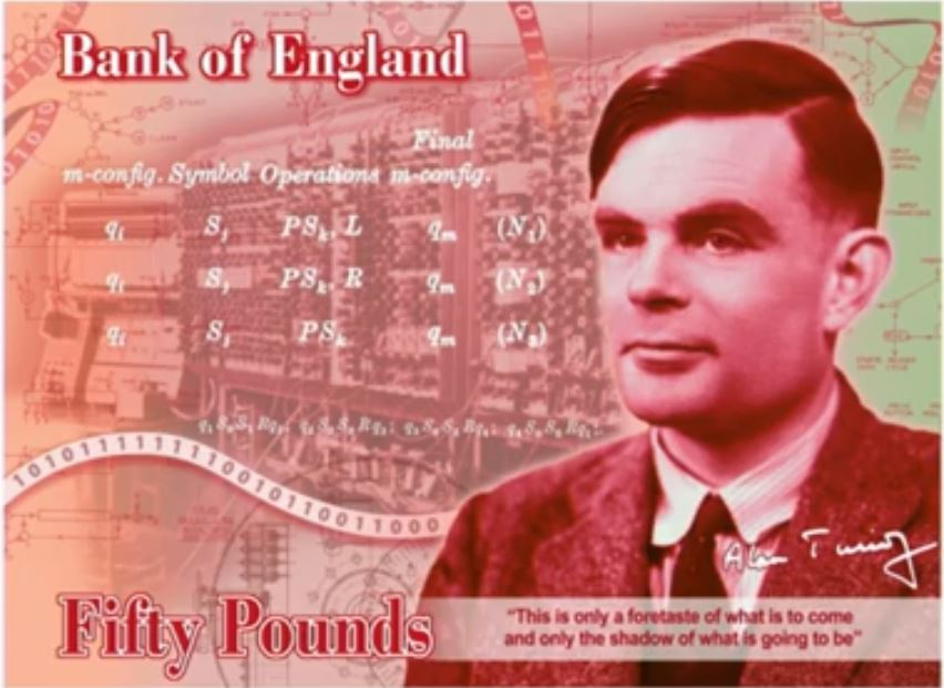 50 TL'lik Tur Turing Notu.  Kredi: YouTube / İngiltere Bankası