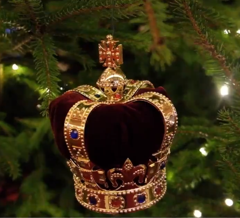 The trees are covered in miniature versions of the Queen's coronation crown. (Credit: Twitter/The Royal Family)