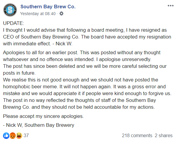 The firm's CEO later revealed that he had resigned because of the incident. Credit: Facebook