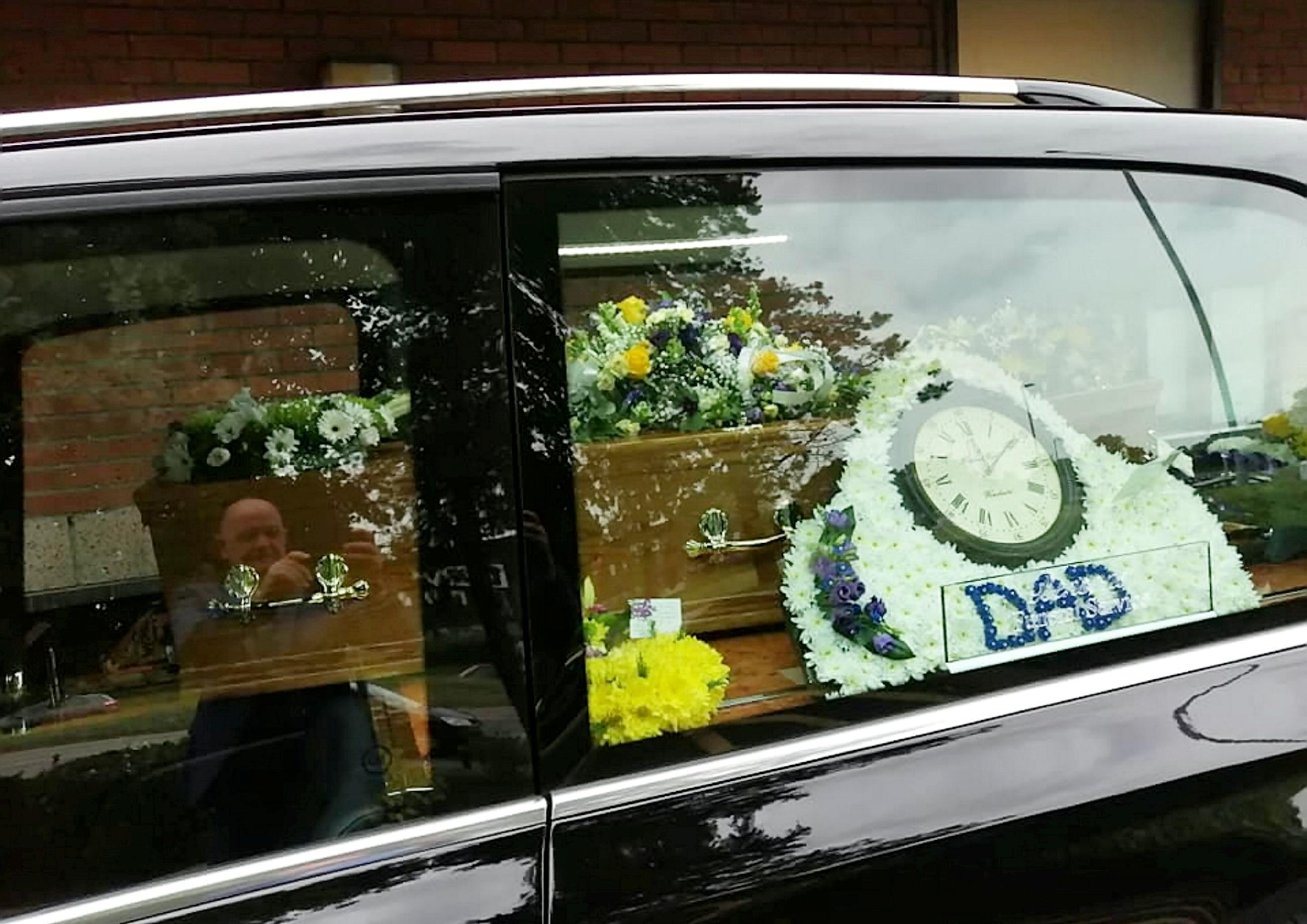 Leonard's hearse at Burger King. Credit: SWNS