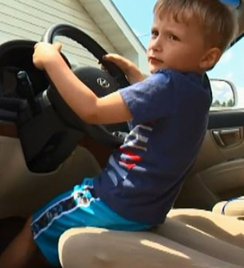 Despite his size, Sebastian managed to drive down a busy road at rush hour. Credit: Fox 9