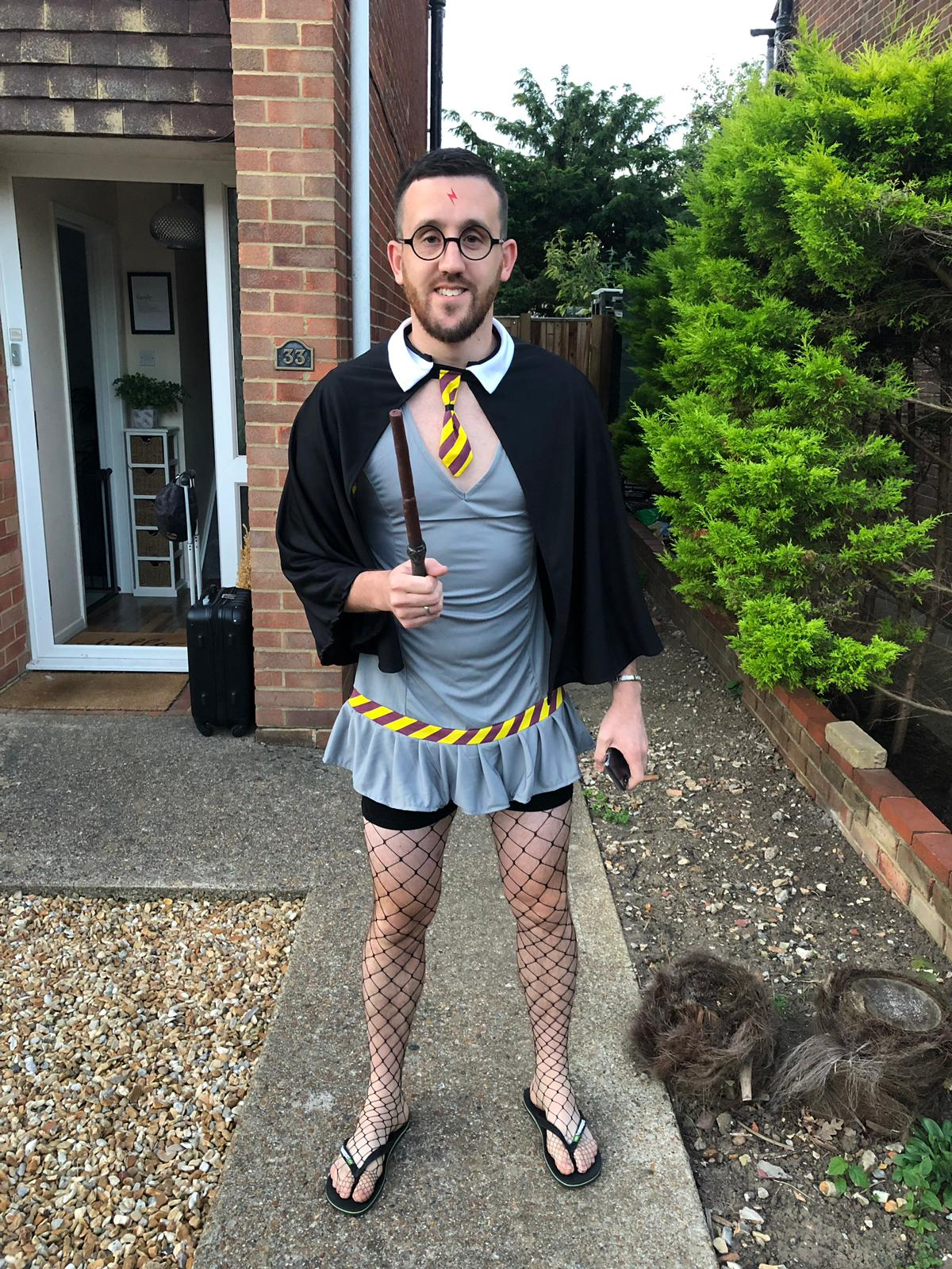 The group also dressed Liam up as Harry Potter. Credit: LADbible