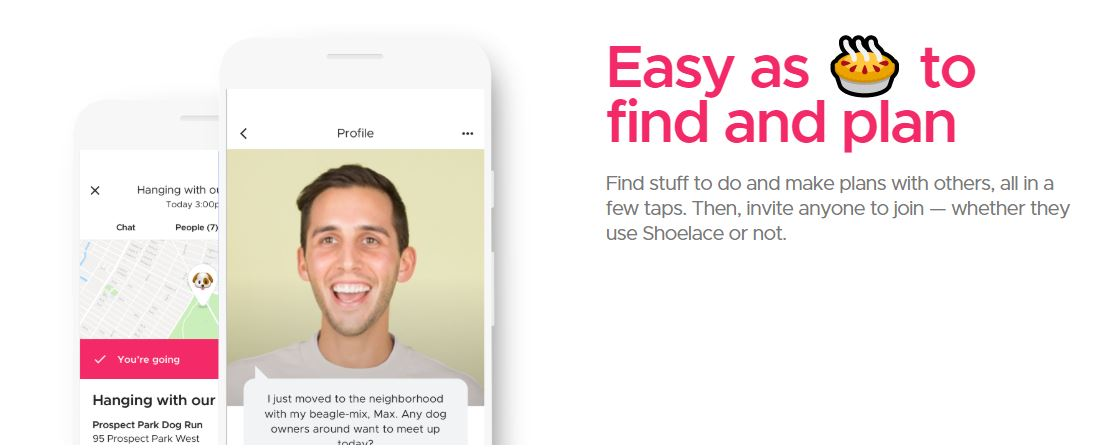 Google Shoelace helps you find new friends and things to do. Credit: Shoelace.nyc