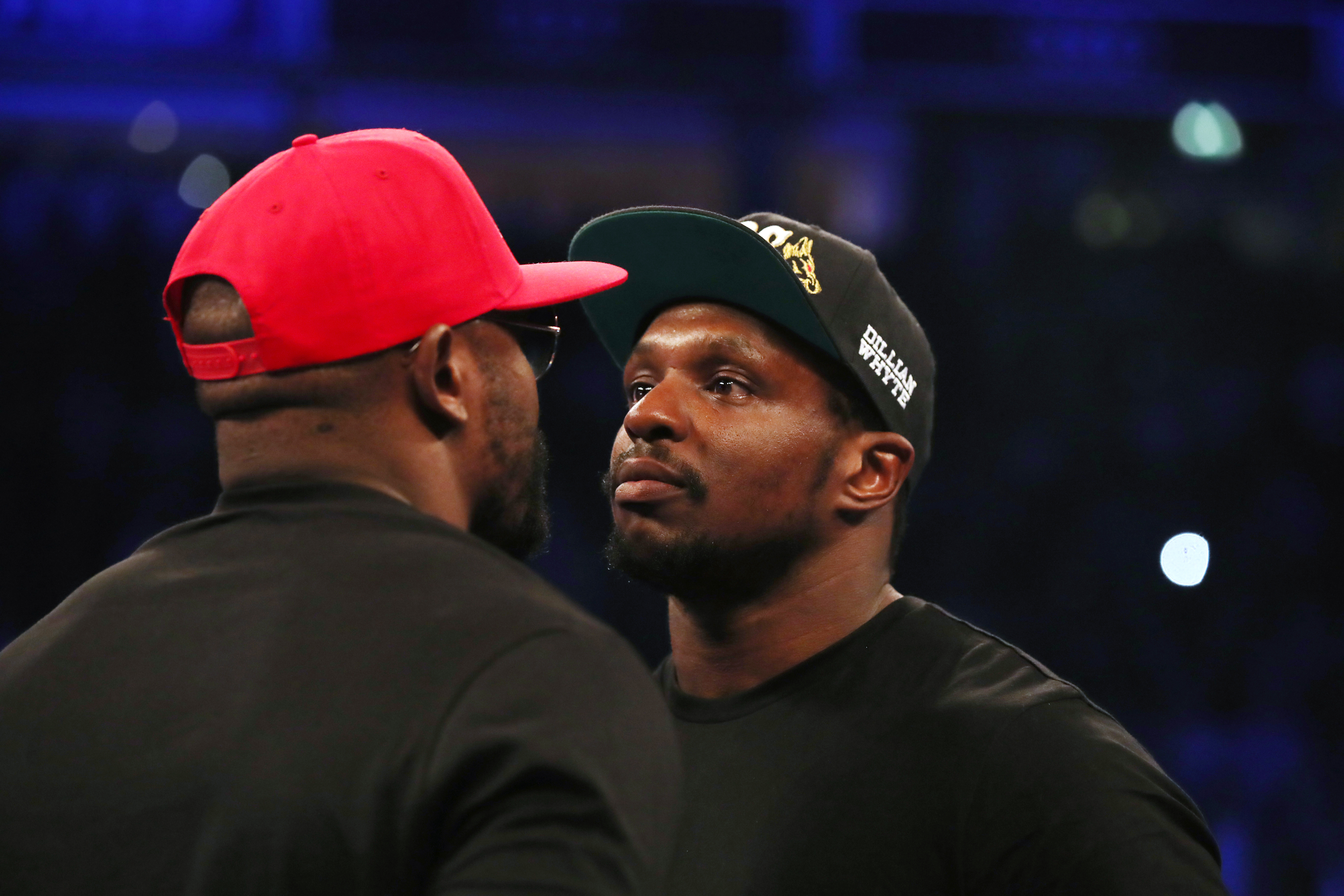 Whyte and Dereck Chisora square up. Image: PA Images