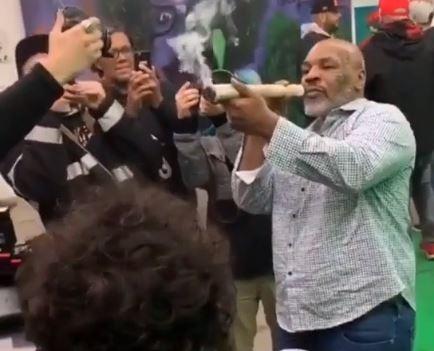 Mike Tyson Smokes Massive Joint At Marijuana Festival