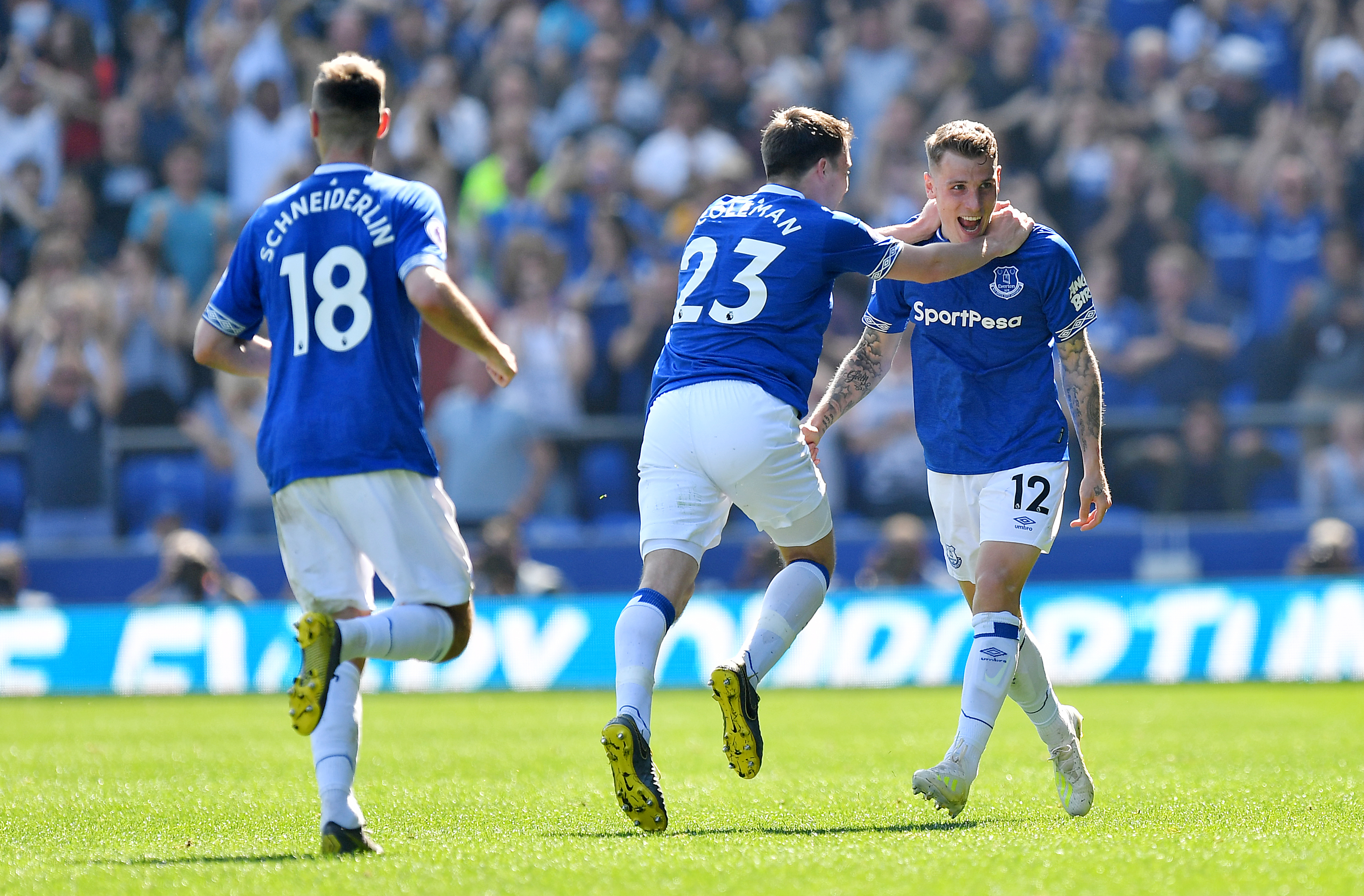 Digne celebrates Everton's third. Image: PA Images