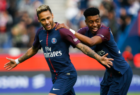 Kimpembe celebrates with Neymar. Image: PA