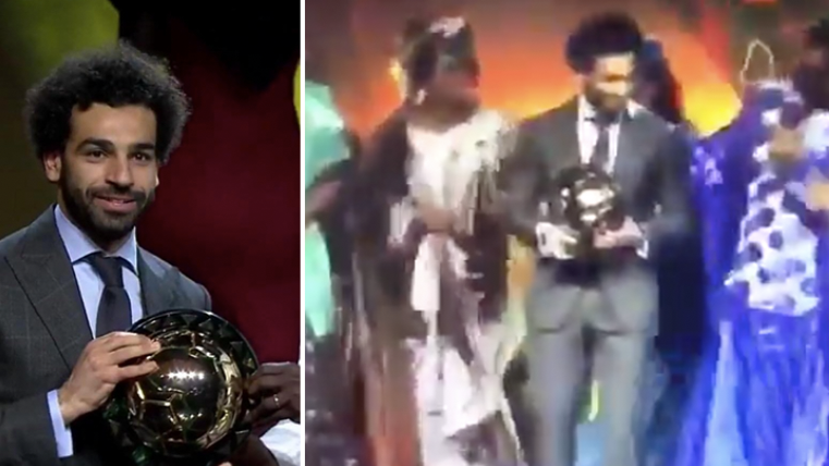 Mo Salah Wins African Player Of The Year, Celebrates By Dancing With The Award