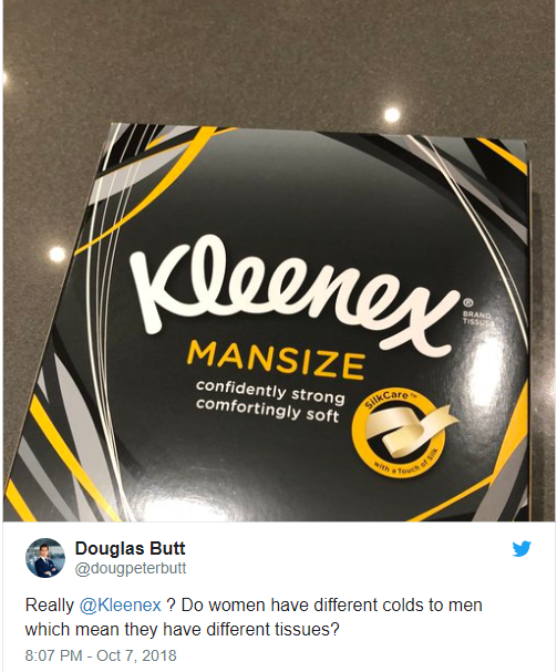 Kleenex to rebrand 'Mansize' tissues as 'Extra Large' after sexism complaints
