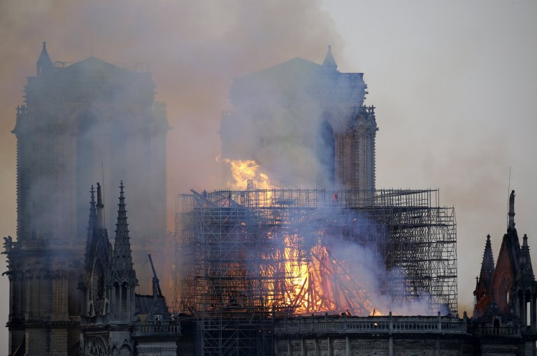 Lesley Rowan thought she could see Jesus in the flames at Notre-Dame cathedral. Credit: Getty