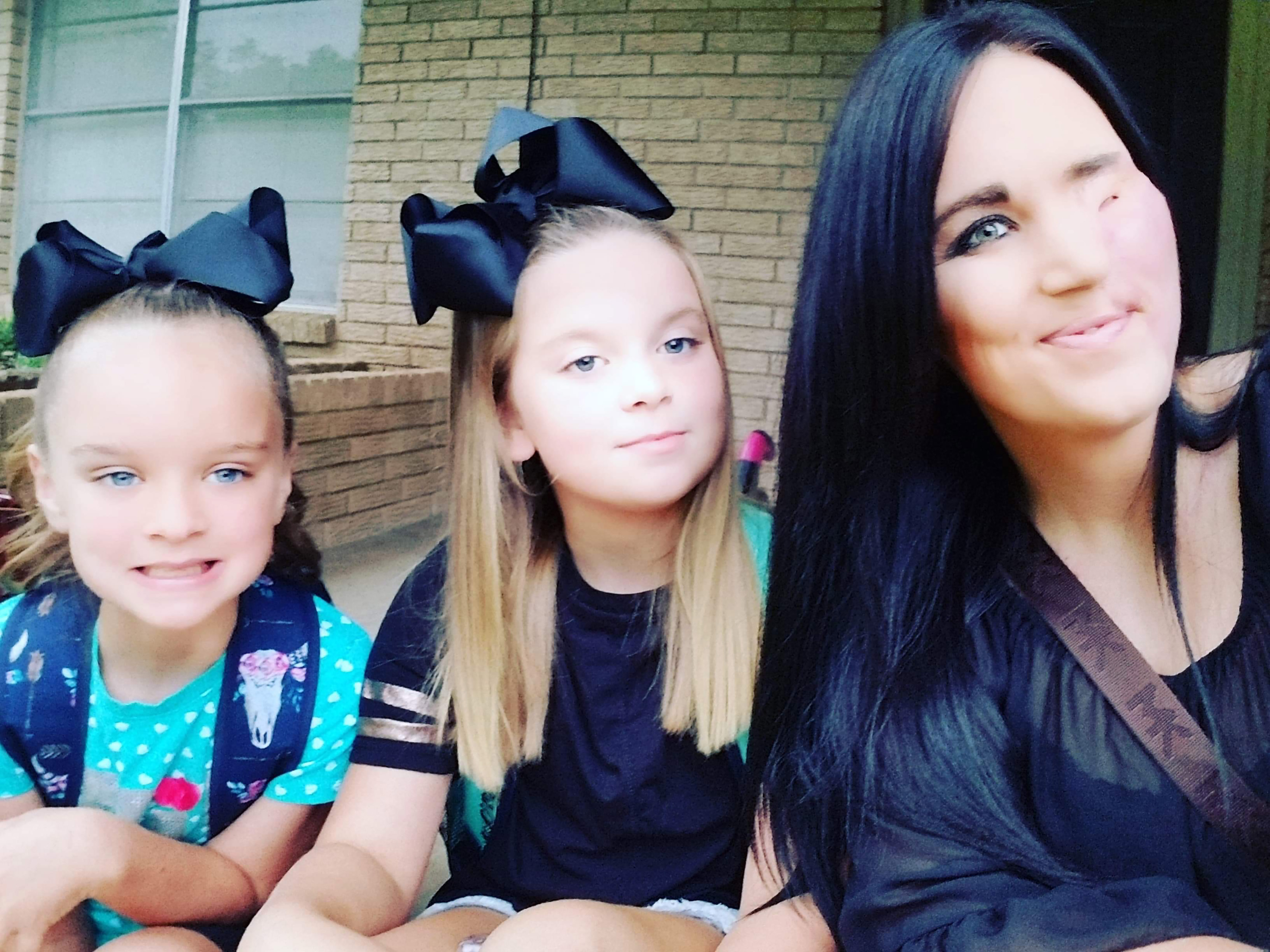 Brittney with daughters Makennah, 10 (centre) and Presley, 7 (left). Credit: Caters