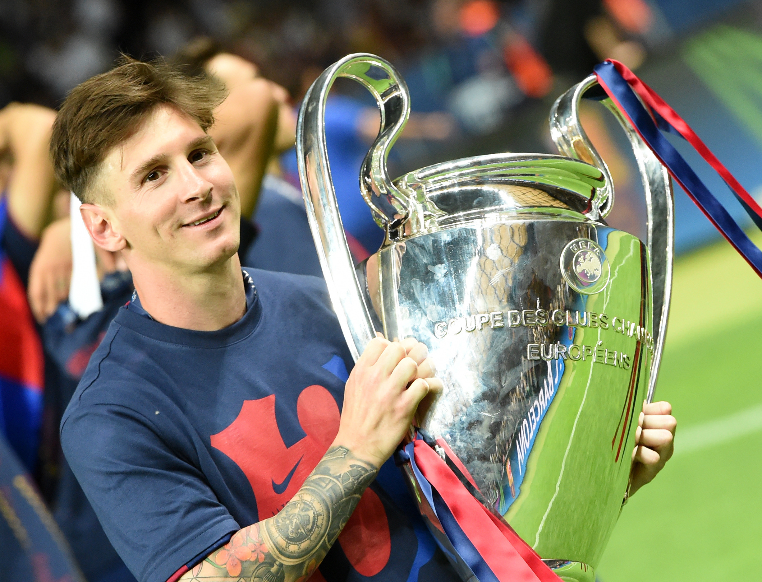 It's been four years since Messi got his hands on the Champions League trophy. Image: PA Images