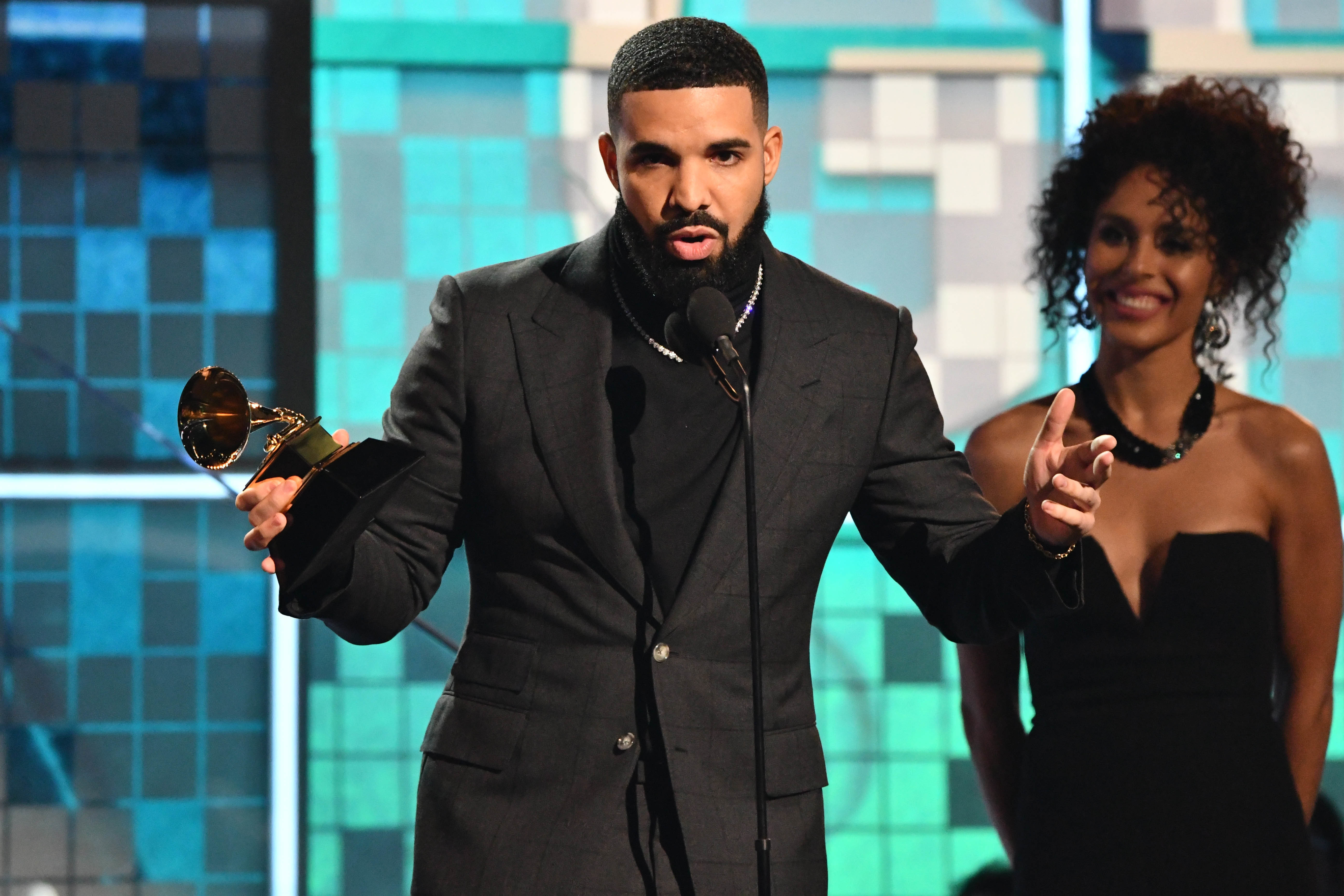 Drake's speech was cut off after he told artists they don't need an award. Credit: PA