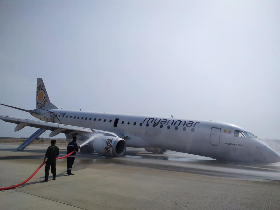 Nobody on board the flight was injured. Credit: Myanmar Airlines