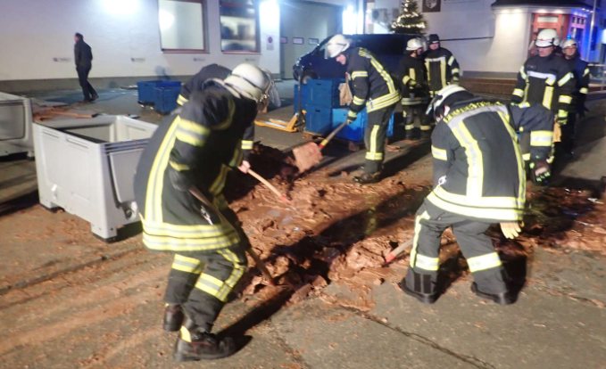 A Ton Of Chocolate Spills Out Onto Town's Road From Sweet Factory. Credit: Werl Fire Department