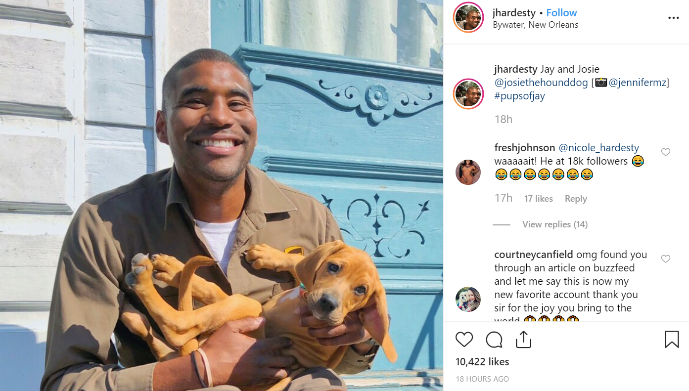 The UPS driver shares some adorable photos of dogs he meets on his route. Credit: Instagram/jhardesty