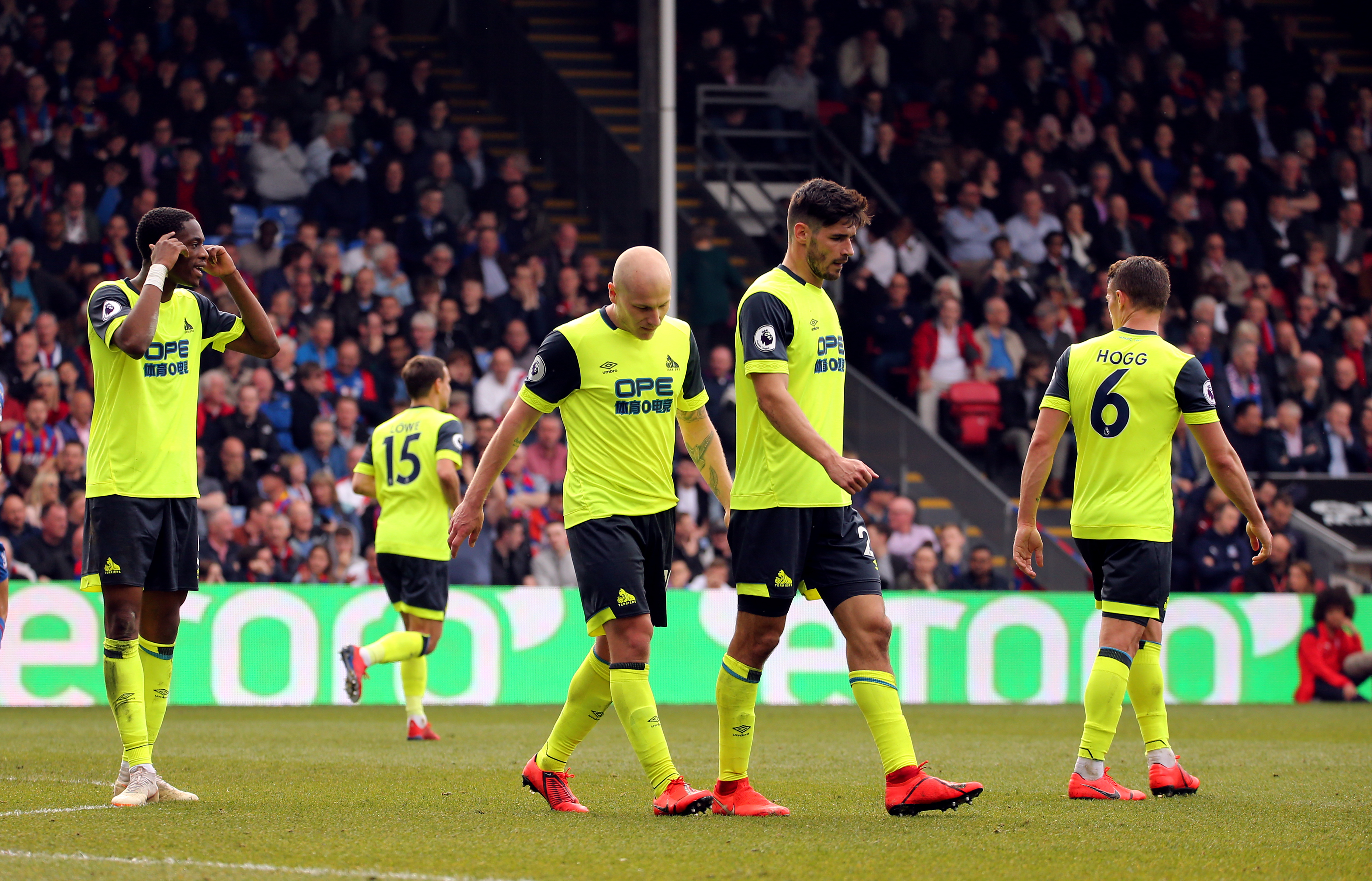Huddersfield Town players after their loss to Crystal Palace saw them go down. Image: PA Images