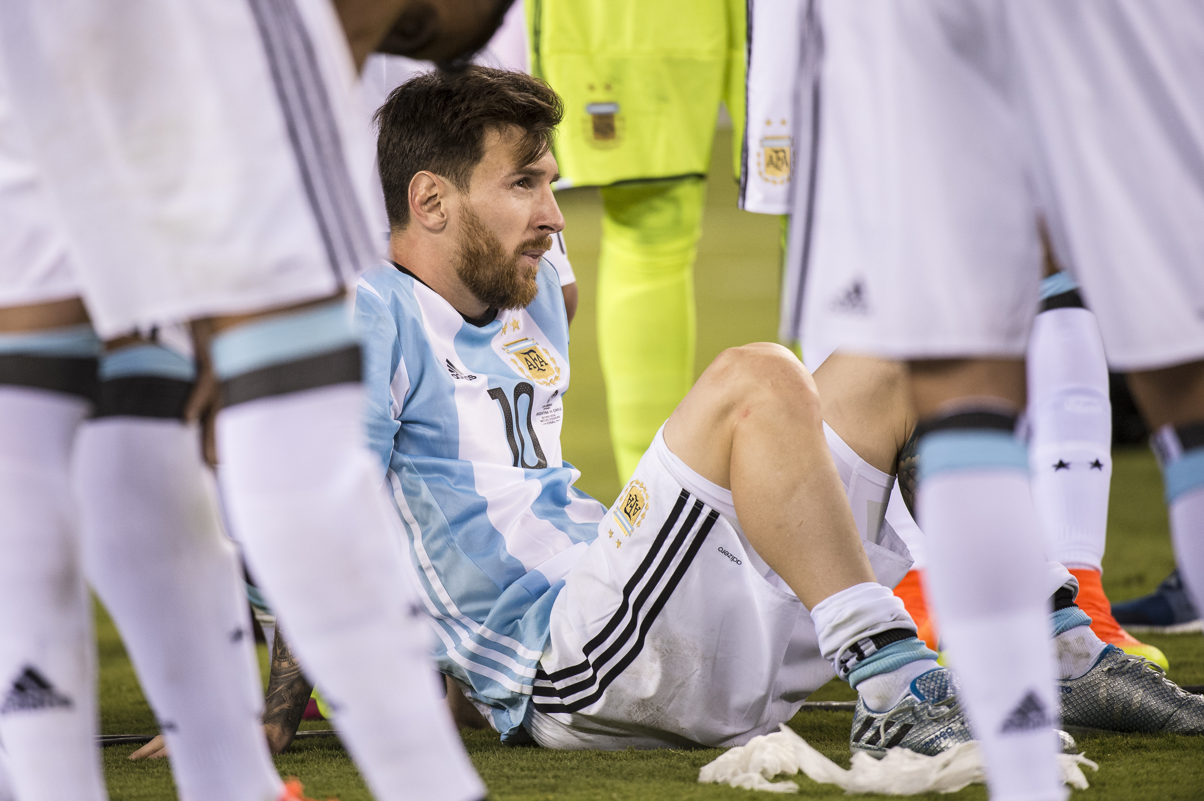 Lionel Messi after Argentina's defeat to Chile in the 2016 Copa America Final (Image Credit: PA)