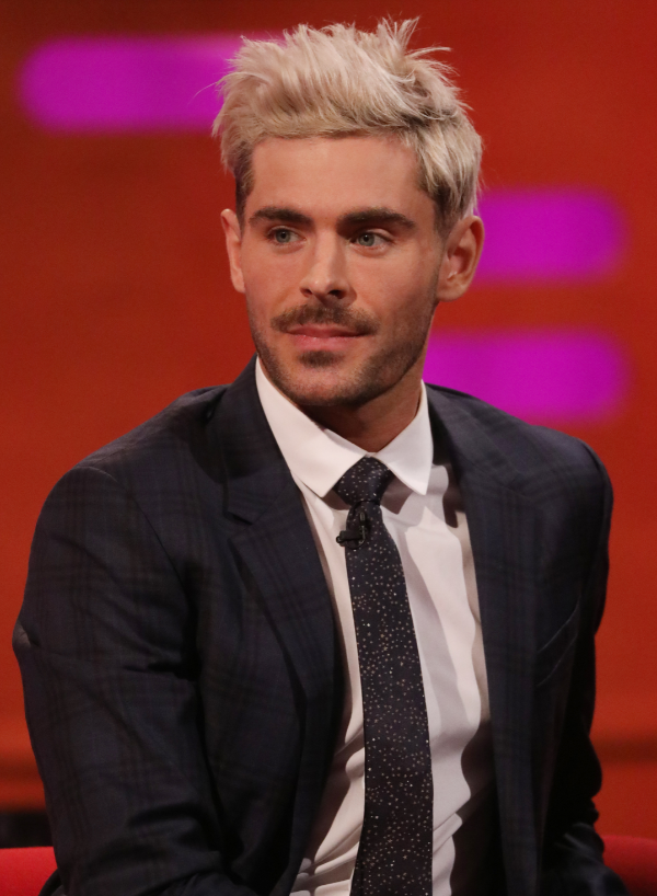 Zac Efron on The Graham Norton Show, rocking his new bleached hair. Credit: PA