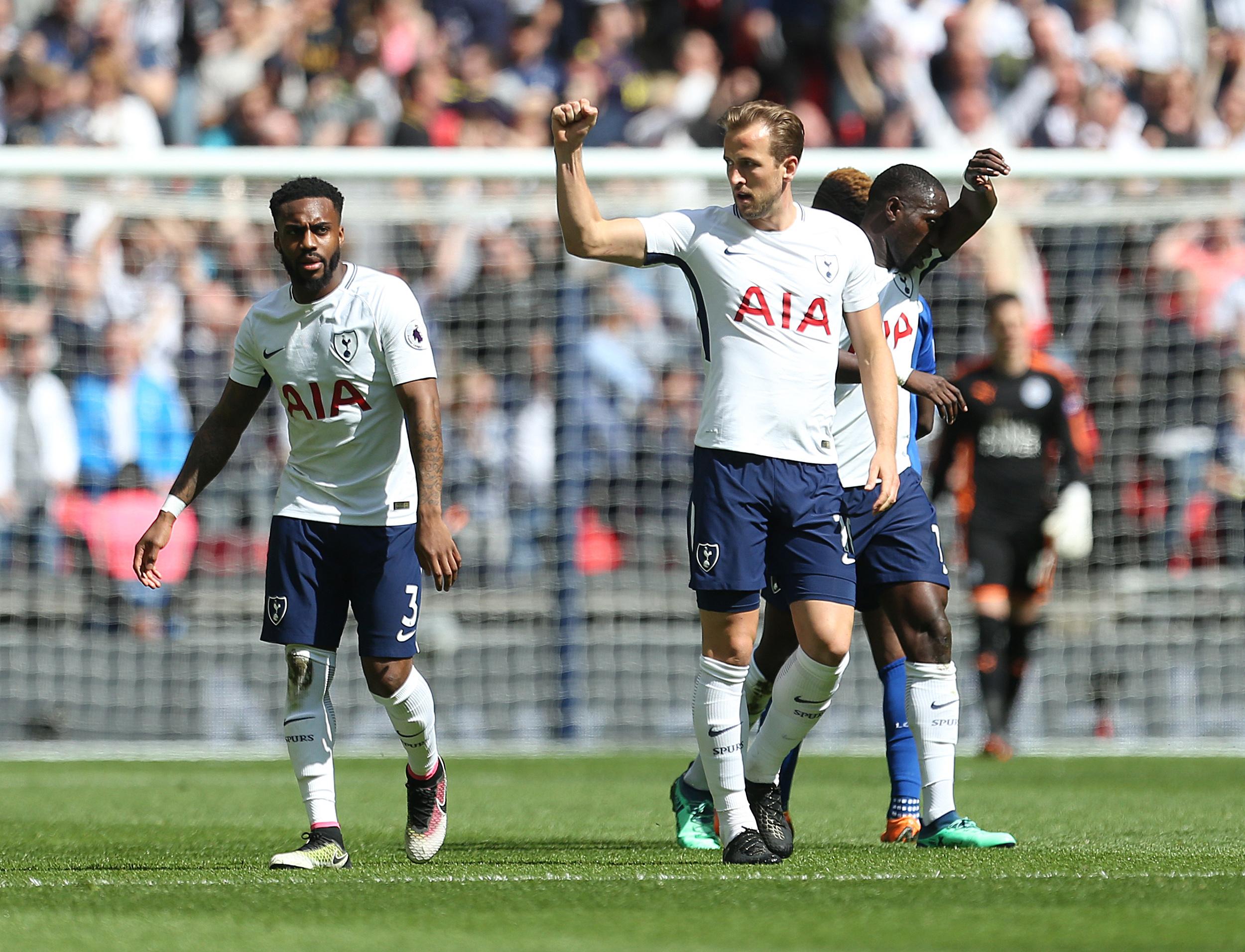 Kane celebrates scoring. Image: PA