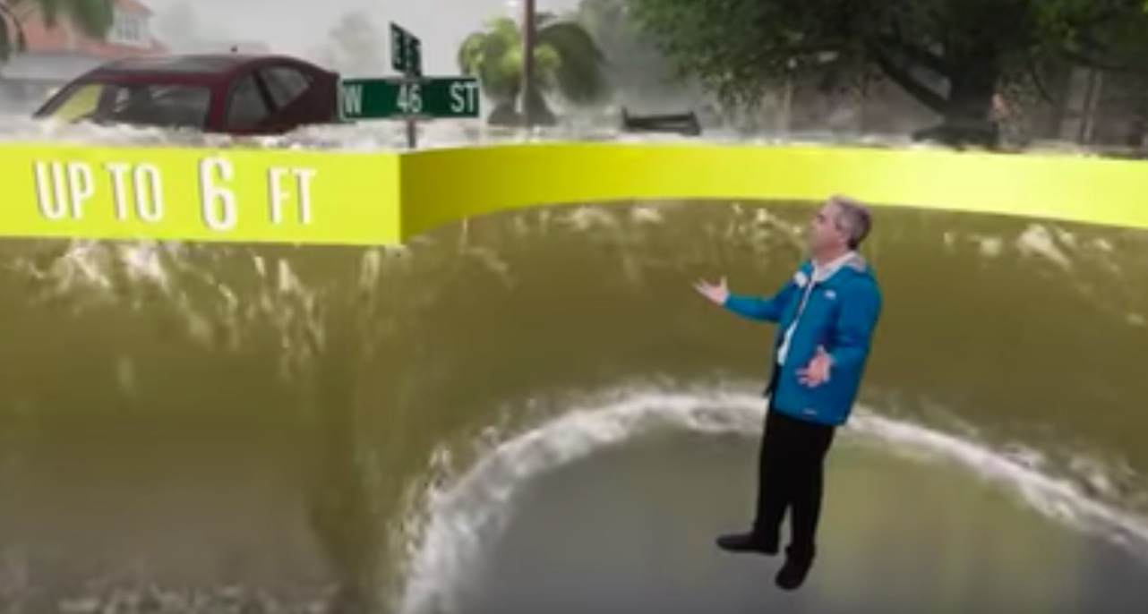 Weather Channel anchor appears to be dramatizing storm