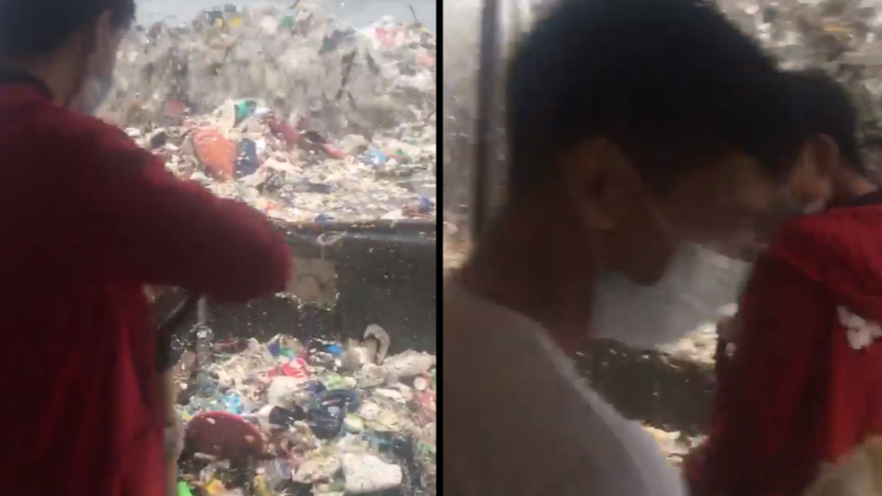 Waves Of Plastic Rubbish Thrash On To Shore Of Philippine Bay