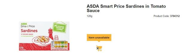 Here they are online but currently unavailable. Credit: Asda