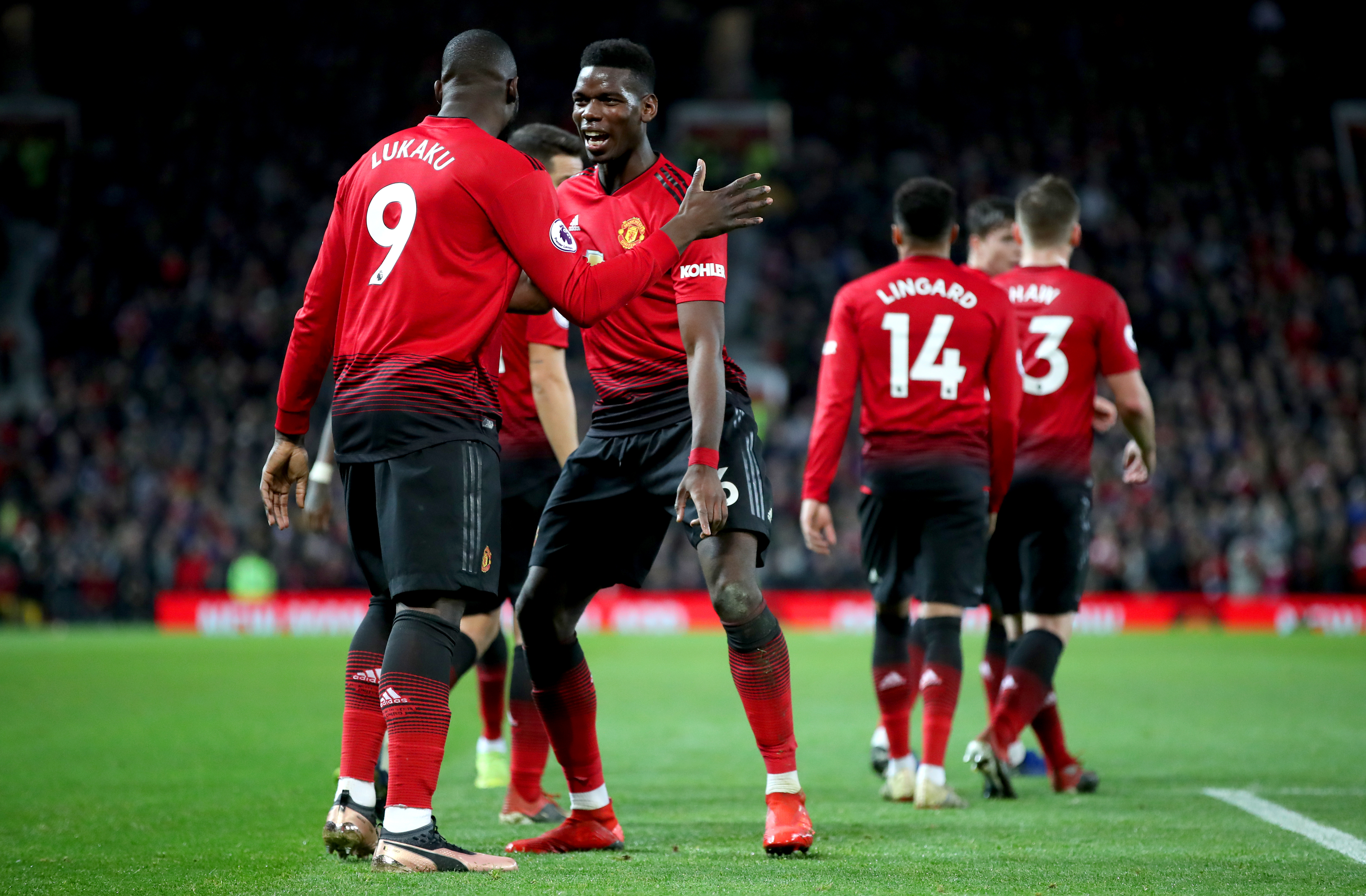 Pogba celebrates his second goal against Bournemouth. Image: PA Images