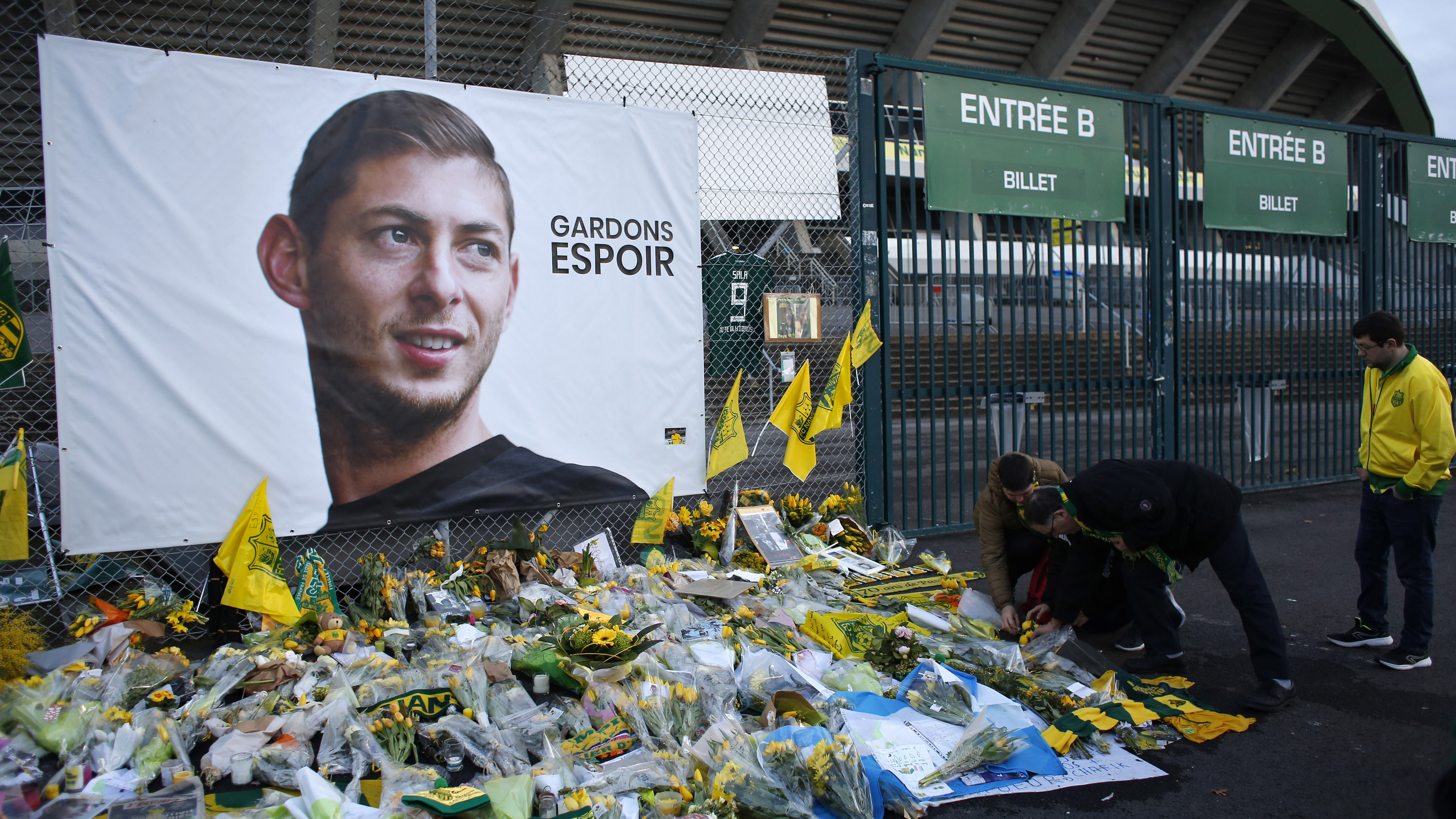 Tributes outside the ground. Image: PA Images