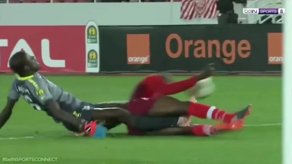 N'Diaye's painful collision. Credit: BeInSports