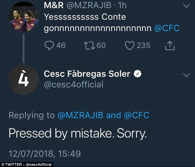 Fabregas&apos now deleted apology. Image PA Images