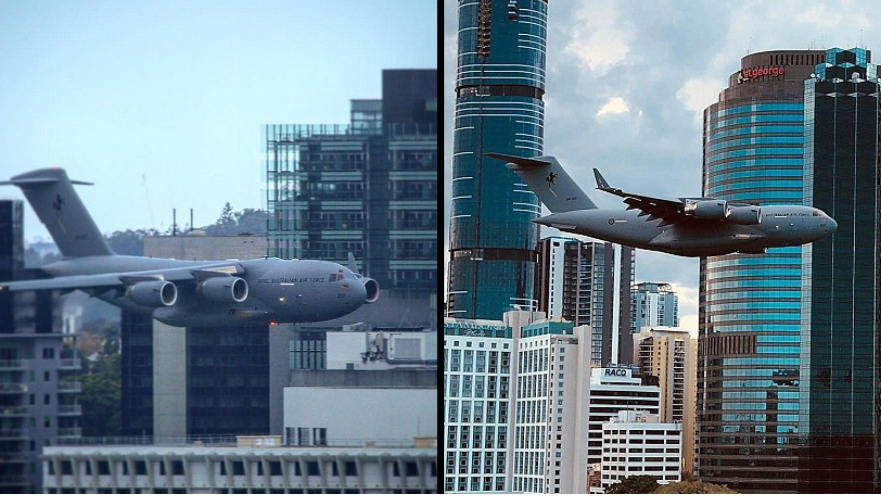 Terrifying Moment Plane Flies Towards Buildings In 'Dangerous' Stunt