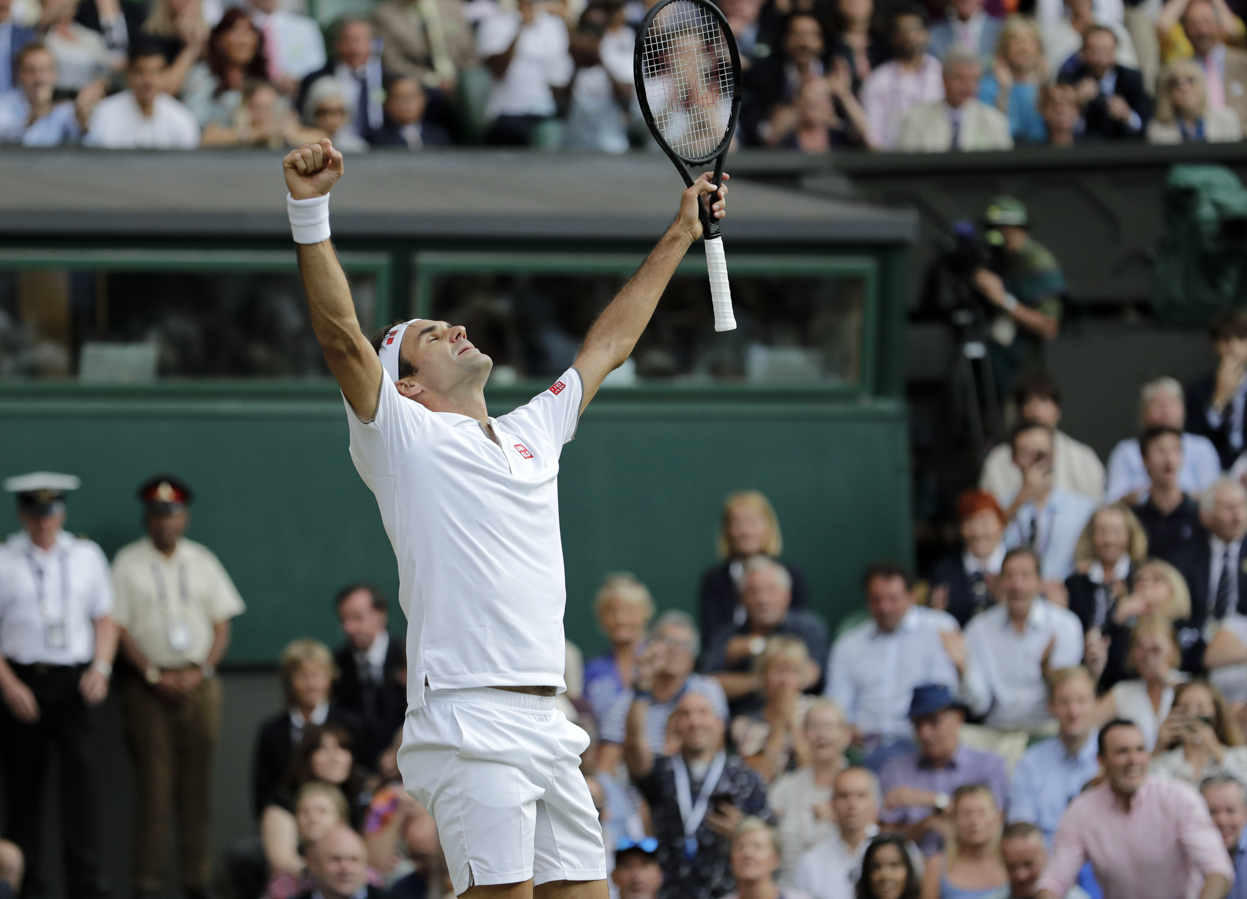 Federer celebrates victory. Image: PA Images