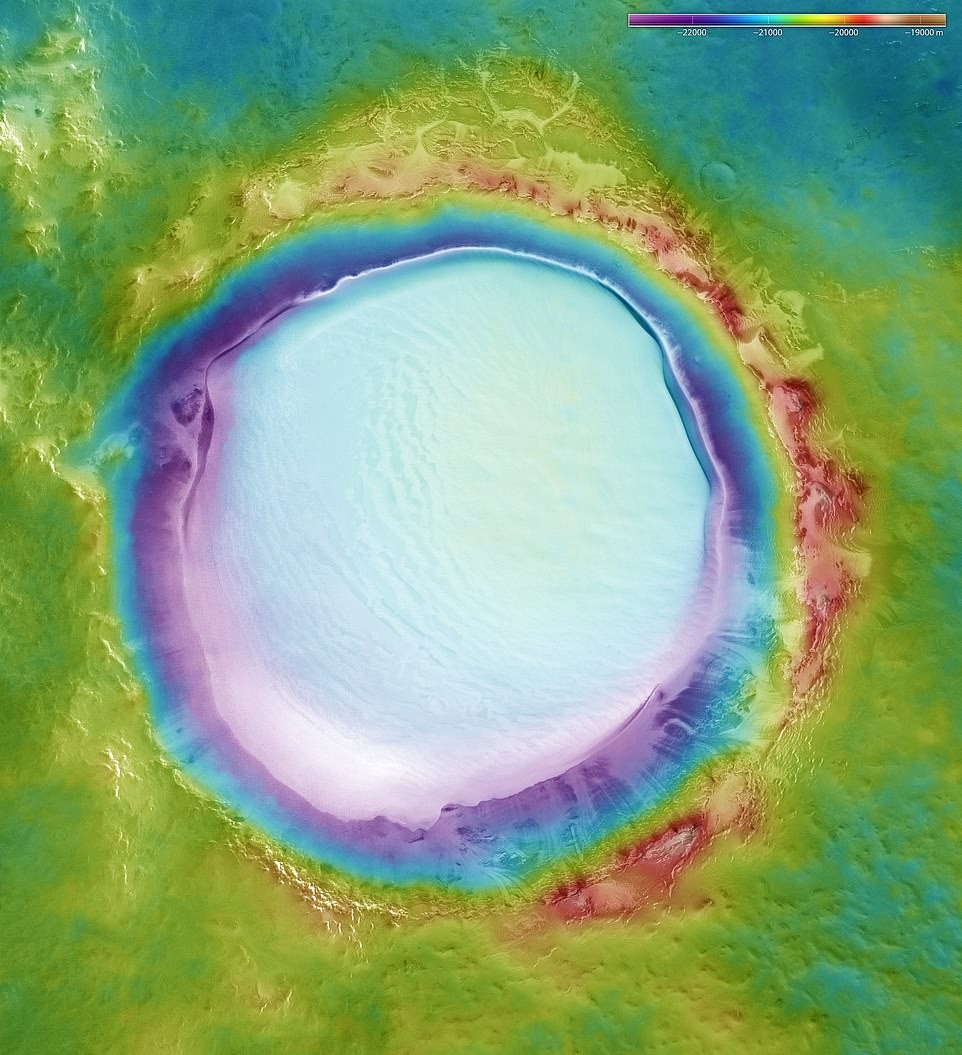 The composite image of the Mars crater. Credit: ESA/DLR/FU Berlin
