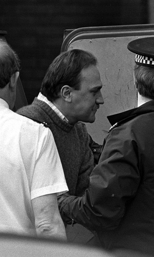 Photo from 1988 of Ian Simms at St Helen's Magistrates Court. Credit: PA