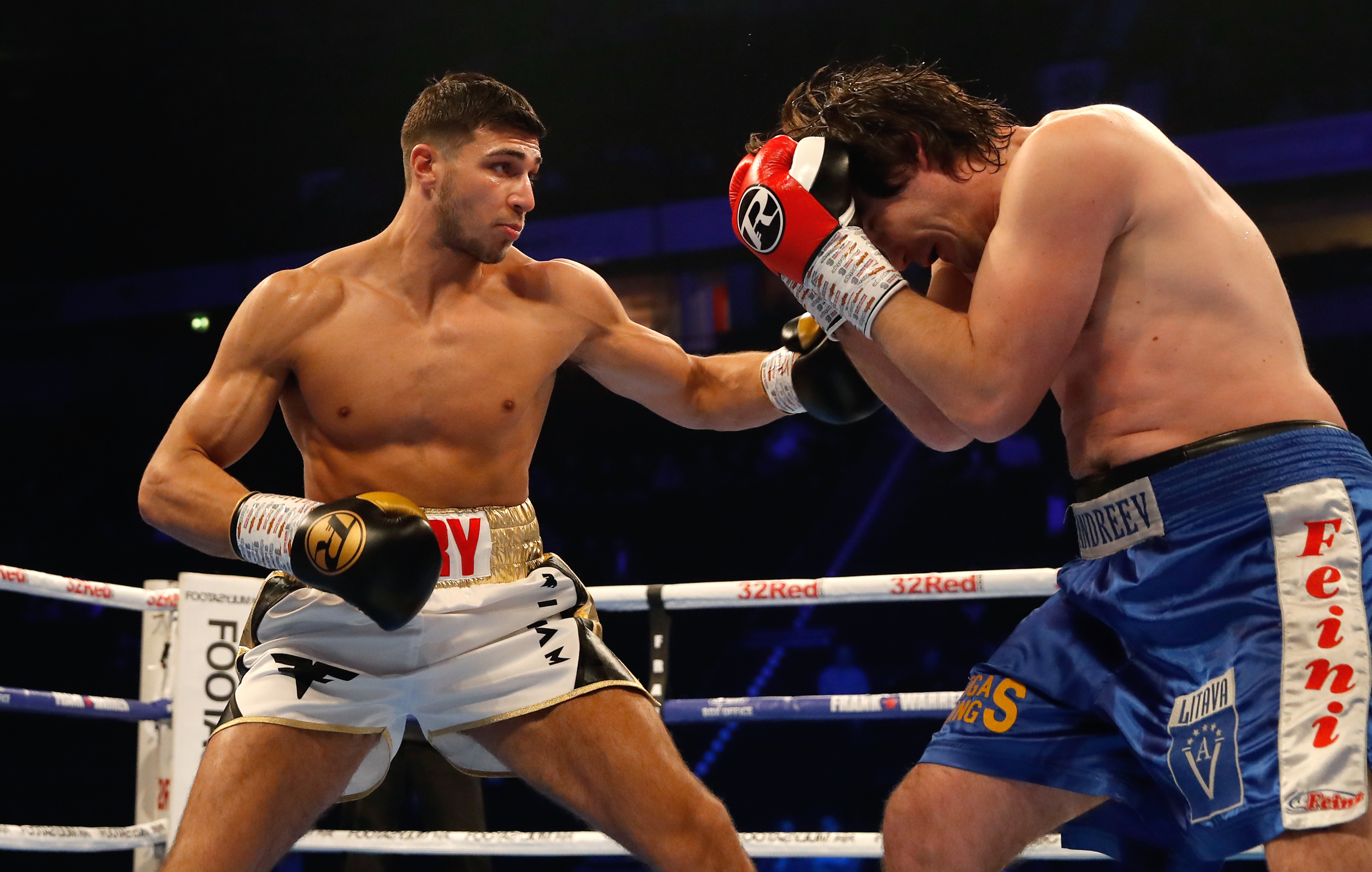 Tommy Fury in action with Jevgenijs Andrejevs. Credit: PA