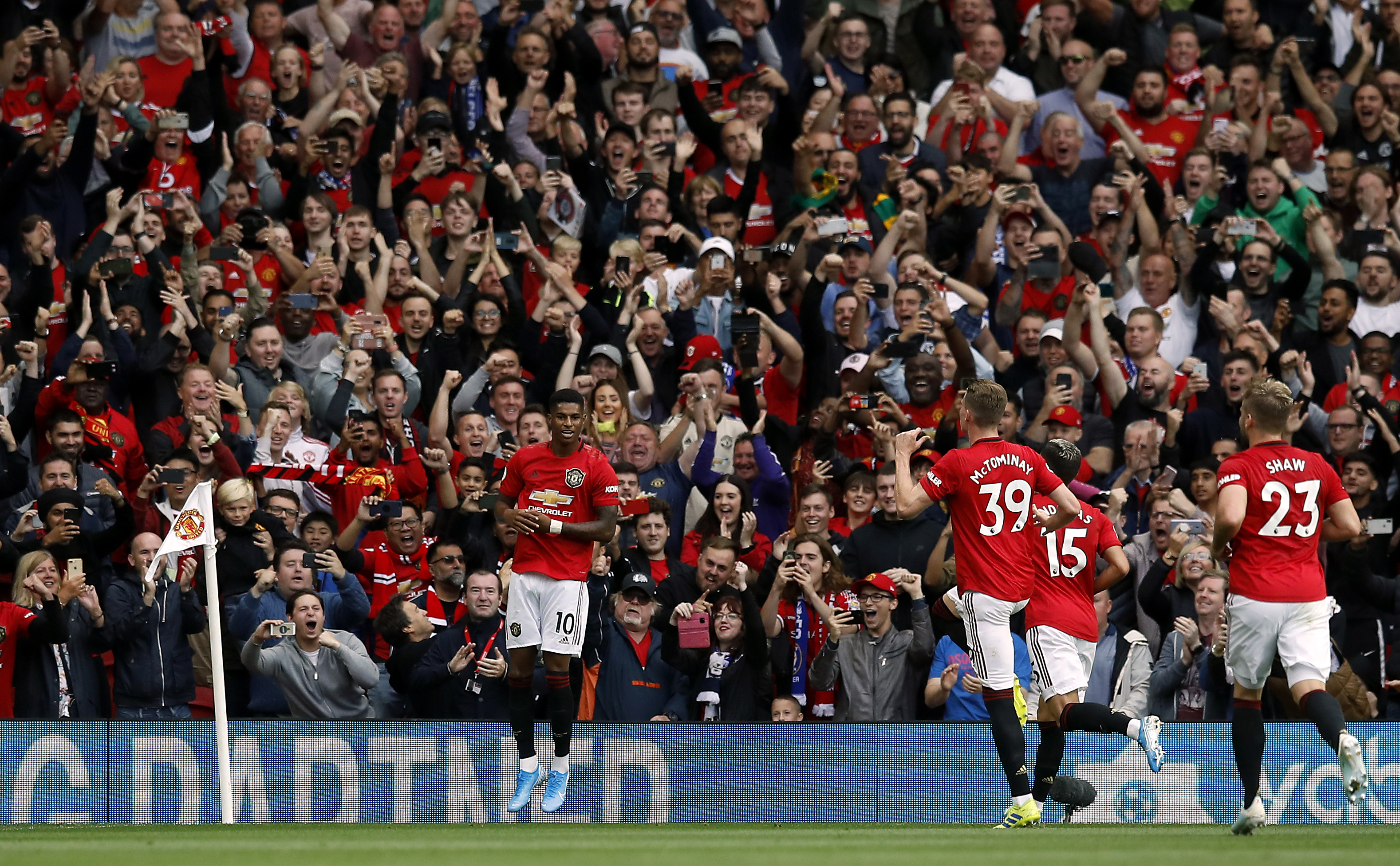 Marcus Rashford scored twice in a 4-0 drubbing of Chelsea at Old Trafford