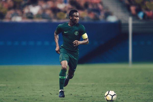 John Obi Mikel modeling Nigeria's banging 2018 away World Cup shirt. Image: PA
