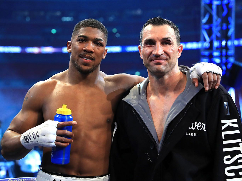Two warriors after a classic fight. Image: PA Images