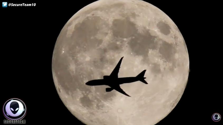 plane over moon