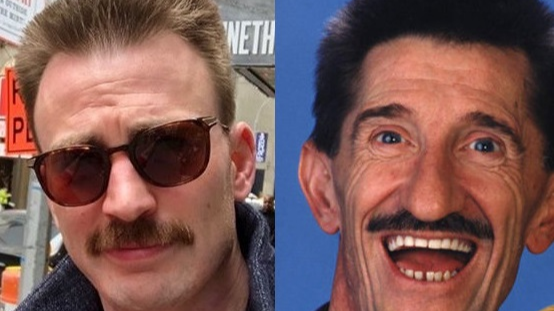 Chris Evans Has Grown A Moustache And Looks Like Barry Chuckle