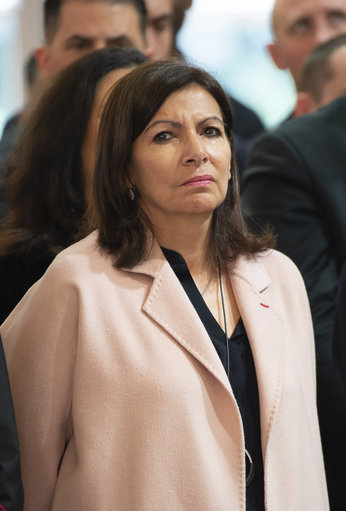 Paris Mayor Anne Hidalgo attends during French President Emmanuel Macron delivers a speech during thanks to the firefighters who intervened at Notre Dame Cathedral. Credit: PA