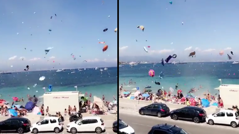 Mini-Tornado Causes Chaos On A Beach In France
