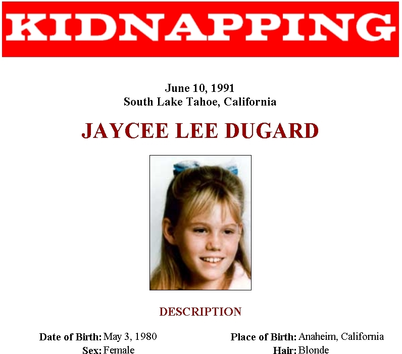 An FBI handout from 1991 about Jaycee Dugard's kidnapping. Credit: PA