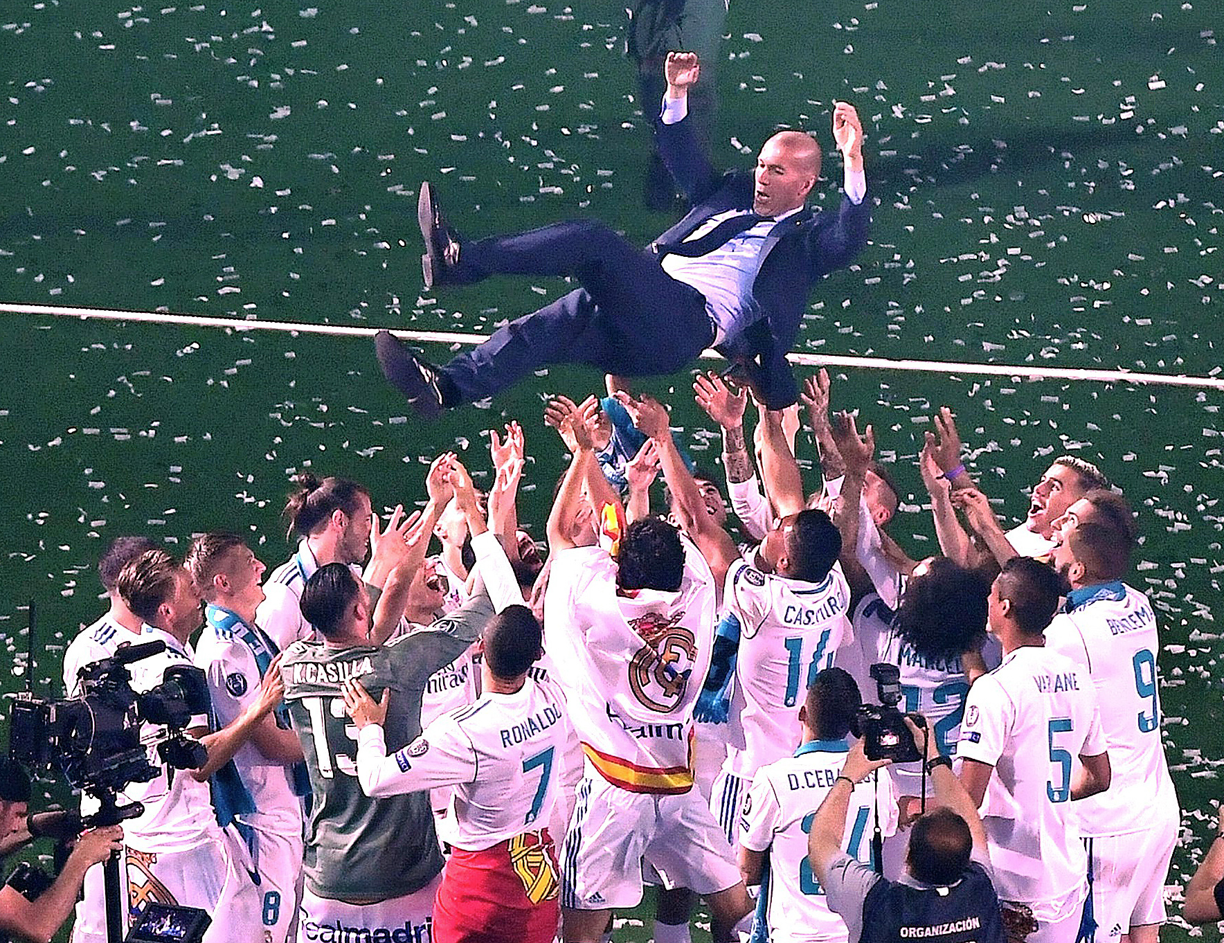 Who would have seen Zidane leaving just days after these scenes? Image: PA Images